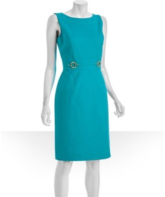 Tahari ASL turquoise cotton piqué bamboo ring detail dress