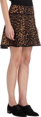 A.L.C. Knit Leopard Print Flare Skirt
