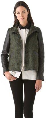 Derek Lam 10 crosby Tweed Jacket with Leather Sleeves