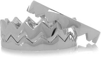 Eddie Borgo Set of three silver-plated brass bear trap bangles