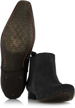 Topman Black Synthetic Suede Chelsea Boots