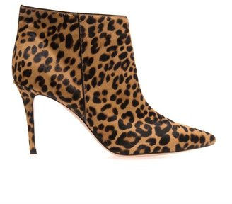 Gianvito Rossi Leopard-print calf-hair ankle boots