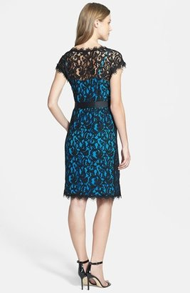 Isaac Mizrahi New York Scalloped Lace Sheath Dress