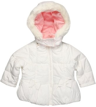 London Fog L212730 Girls Glitter w/ Bows Jacket (Toddler) (White) - Apparel