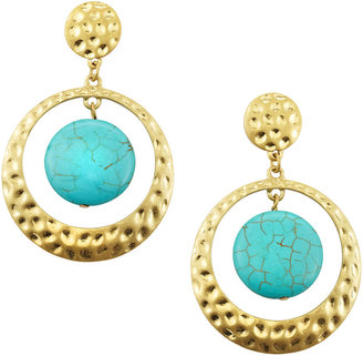 RJ Graziano Turquoise Drop Hammered Earrings