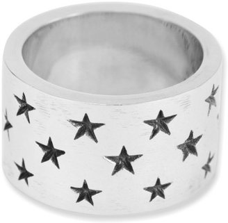 King Baby Studio Wide Band with Stars Sterling Silver Ring
