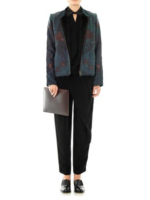 By Walid Vintage embroidered fur-lined jacket