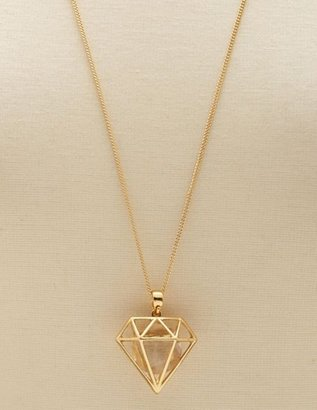 Charlotte Russe Diamond Cage Pendant Necklace