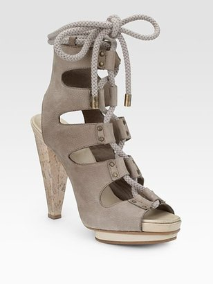 Derek Lam Suede Double-Platform Lace-Up Sandals