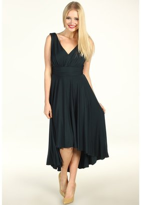 Suzi Chin for Maggy Boutique - V-Neck Pleated Hi-Lo Dress (Deep Forest) - Apparel