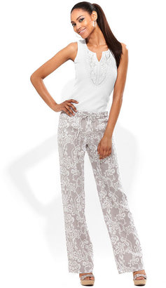 INC International Concepts Pants, Printed Linen Wide-Leg