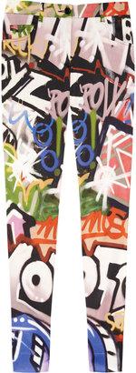 Moschino Graffiti-print stretch-satin skinny pants