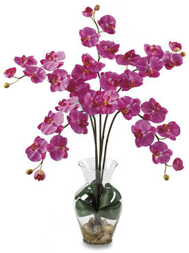 Bed Bath & Beyond Nearly Natural Phalaenopsis Liquid Illusion Silk Flower Arrangement (Dark Pink)