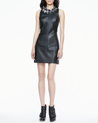 Madison Marcus Crystal-Collar Faux-Leather Dress
