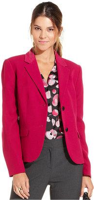 Nine West Jacket, Crepe Double-Button Blazer