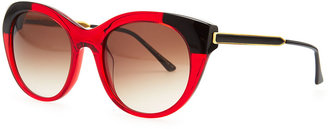 Thierry Lasry Fingery Two-Tone Modified Cat-Eye Sunglasses, Red/Black