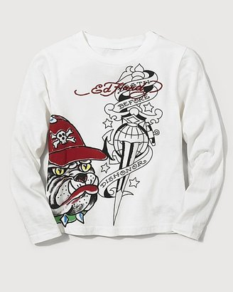 Ed Hardy Boys' Long Sleeve Bulldog Skull Tee Shirt