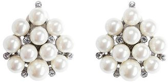 Brooks Brothers Sterling Silver and Glass Pearl Cluster Earrings