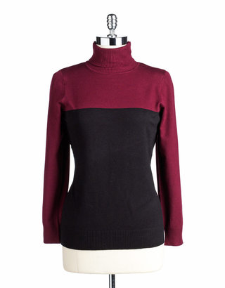 Joseph A Colorblock Turtleneck Sweater