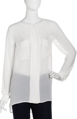 Isda & Co Crepe Patch-Pocket Tunic, Ivory/Bone