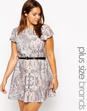 Club L Plus Size Belted Waffle Skater Dress