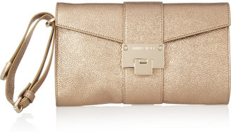 Jimmy Choo Rivera metallic textured-leather envelope clutch