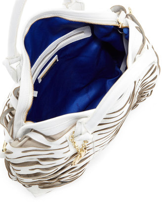Charles Jourdan Beverly Open Lattice Leather Satchel Bag, White