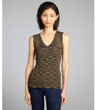 M Missoni yellow brown and black V-neck ribbed stretch knit sleeveless top
