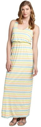 The Vanity Room oatmeal and highlighter striped linen blend maxi racerback dress