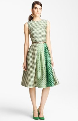 Oscar de la Renta Print Full Skirt Dress