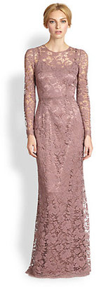 Dolce & Gabbana Long-Sleeve Lace Gown/Rose