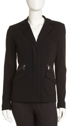 Lafayette 148 New York Zip-Detail Blazer, Black