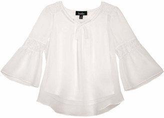 BY AND BY GIRL by&by Girl Lace Back Bell Sleeve Peasant Top - Girls 7-16