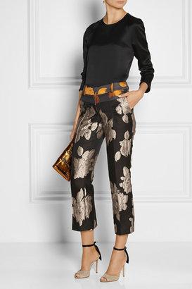 Vera Wang Cropped rose-jacquard pants
