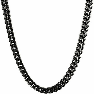 FINE JEWELRY Mens Stainless Steel & Black IP Foxtail Chain