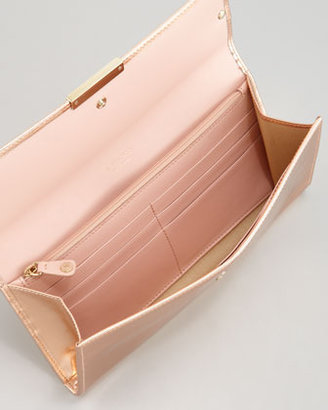 Jimmy Choo Reese Metallic Leather Wallet Clutch Bag, Blush
