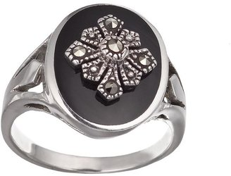Sterling silver marcasite onyx ring