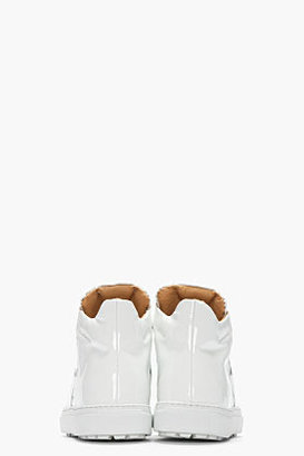 Maison Martin Margiela White Patent Leather High-Top Sneakers