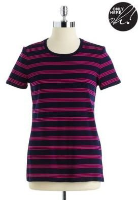 Lord & Taylor Striped Cotton Tee