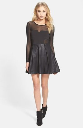 MinkPink 'Pump Up the Glam' Mesh & Faux Leather Skater Dress