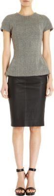 L'Agence Side Zip Leather Skirt