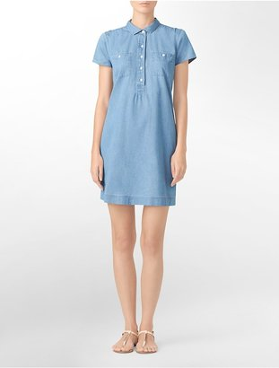 Calvin Klein Jeans Short Sleeve Cotton Denim Dress