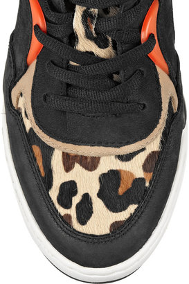 Ash Bling leopard-print calf hair and distressed leather wedge sneakers