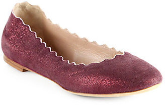 Chloé Metallic Suede Scalloped Ballet Flats