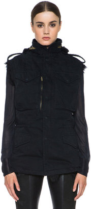 R 13 Military Cotton Vest with Shearling in Black
