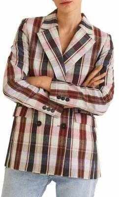 MANGO Bombay Structured Plaid Blazer