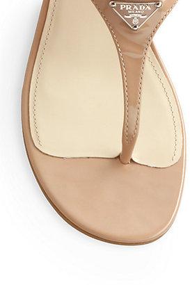 Prada Patent Leather Thong Wedge Sandals