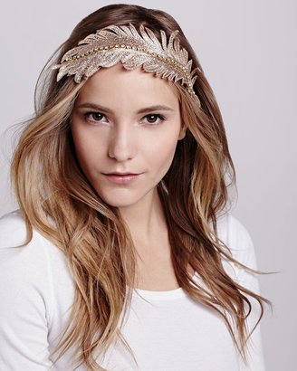 Colette Malouf Embroidered Feather Headband, Gold