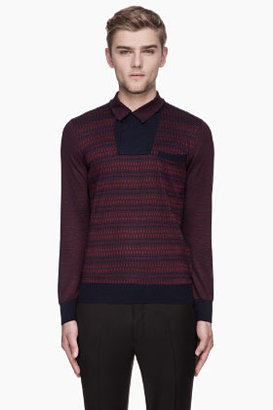 Alexander McQueen Maroon and navy patterned pocket sweater