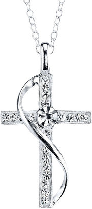 JCPenney CRYSTAL SOPHISTICATION Crystal Sophistication Pure Silver-Plated Crystal-Accent Cross Pendant Necklace